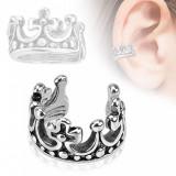 Piercing de ureche fals,placat cu rodiu,coroană roială rotundă,patină neagră