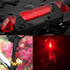 Stop bicicleta 5 LED-uri, 4 moduri iluminare, incarcare USB, 2 inele fixare