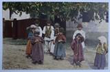 RUMANISCHE DORFJUGEND ( GRUP DE COPII DE LA TARA ) , FOTOGRAFIE TIP CARTE POSTALA , POLICROMA, NECIRCULATA , PERIOADA INTERBELICA