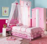 Cumpara ieftin Set Mobila dormitor din pal, pentru copii 4 piese Little Princess Pink / Nature