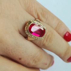 Inel vechi din aur de 14 k cu rubin, 14k