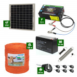 Pachet gard electric cu Panou solar 3,1J putere și 500m Fir 90Kg cu acumulator