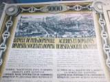 UZINELE DE FIER SI DOMENIILE RESITA : TITLU DE ACTIUNI 5000 LEI , 1926 , TALOANE