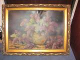 CY Rama lemn tablou uriasa splendida foarte veche / tabloul f. vechi si el BONUS