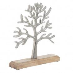 Decoratiune argintie copac metal lemn 23 5 26 cm