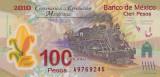 Bancnota Mexic 100 Pesos 2010 - P128a UNC ( polimer , comemorativa - Serie A )