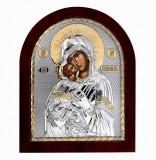 Icoana Maica Domnului Vladimir, pe Foita Argint 925 si Aur, 11x13cm Cod Produs 2465