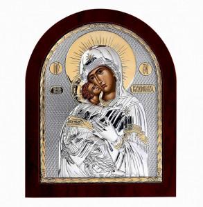 Icoana Maica Domnului Vladimir pe Foita Argint 925 Auriu 11x13cm Cod Produs 2465