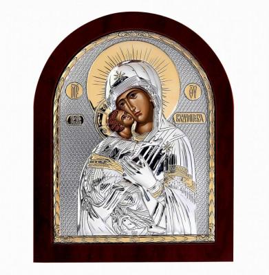 Icoana Maica Domnului Vladimir pe Foita Argint 925 Auriu 11x13cm Cod Produs 2465 foto