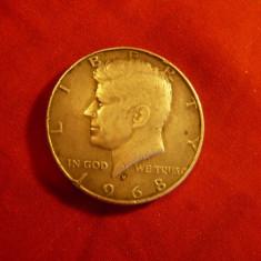 Moneda 1/2 $ 1968 SUA argint cal. F.Buna