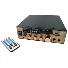 Amplificator bluetooth digital tip Statie 2x80 W intrari USB SD doua intrari microfon