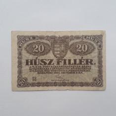 20 Filler 1920 Ungaria bancnota fileri