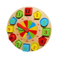 Puzzle incastru din lemn, ceas educativ 22 cm, 12 piese