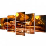 Set tablouri de perete cu imprimeu Whiskey și Trabuc, 200 x 100 cm, vidaXL