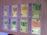 Set 8 bancnote EURO 1 5 10 20 50 100 200 500 1000 placate cu aur UNC