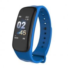 Bratara fitness inteligenta C1S cu masurarea ritmului cardiac, Notificari, Pedometru, Bluetooth, Albastra