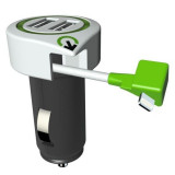 Incarcator auto Q2Power, 3.1A, 2xUSB, 1xLightning, compatibil iPhone, iPad, iPod Mania Tools