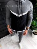 Trening barbati GRI cu argintiu - PREMIUM - Bluza + Pantaloni - A2713