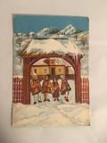 Felicitare veche romaneasca tematica sarbatori de iarna colinda, 3D