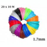Set 20 filamente 1.7mm PLA pentru creion 3D, multicolor, Oem
