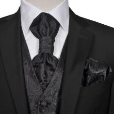 Set vestă nuntă pentru bărbați cu imprimeu Paisley, mărime 50, negru
