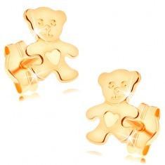 Cercei din aur galben de 14K - ursuleţ plat, strălucitor cu o inimă pe burtă