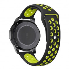 Curea silicon Tech-Protect Softband Samsung Galaxy Watch (42mm) Black/Lime