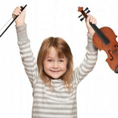 Vioara jucarie pentru copii cu arcus pentru efecte muzicale