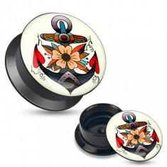 Plug pentru ureche din acril negru, imagine colorată a unei ancore cu flori - Lățime: 5 mm