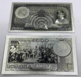 5000 lei 1930-Proiect proba (REPLICA/REPRODUCERE) polimer placata cu Argint 999‰