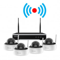 Kit supraveghere video wireless, 4 camere dome 2MP cu NVR 4 canale - HIKVISION