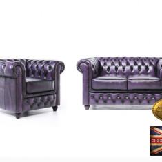 Set canapele din piele naturală-Chesterfield Brand-1/2 locuri -Mov Antique