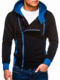Cumpara ieftin Hanorac pentru barbati, negru, fermoar lateral, oblic, cu gluga, buzunare laterale, siret, sport - B297