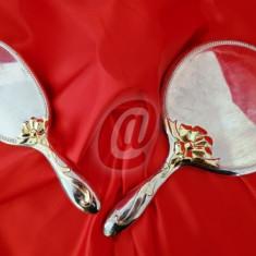 Set oglinda si perie de colectie, argintata, 24 cm