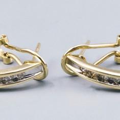 Cercei din aur galben 14K, model creola, cu diamante