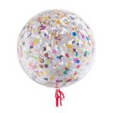 Balon confetti diametru 18 inch, latex transparent culoare multicolor