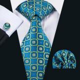 Set cravata matase butoni+batista model carouri/ cercuri + cutie cadou