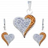 Set din argint cu cercei şi pandantiv - zirconiu, inimă cu dungă aurie