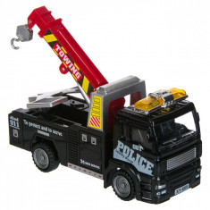 Masinuta de jucarie in miniatura,model macara de politie, 13x5x6 cm, negru