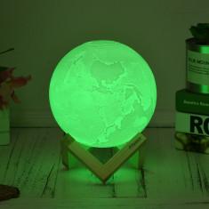 Lumina ambientala Glob LED RGB, diametru 15 cm, cu telecomanda, alb, Aibecy