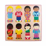 Puzzle din lemn Micutii prieteni, 28 x 28 x 1.2 cm, 12 luni+, Bigjigs