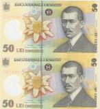 ROMANIA 50 LEI / 2018. UNC . Serii consecutive.