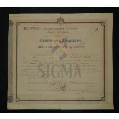 """CERTIFICAT DE ABSOLVIRE, LICEUL """" AL. HASDEU """" BUZAU, 1916"""