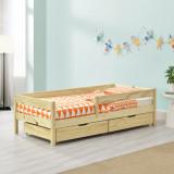 [en.casa]® Pat copii Borgarnes W140, 145 x 76 x 50 cm, lemn/PAL, culoarea lemnului cu 2 sertare si protectie impotriva caderilor HausGarden Leisure, [en.casa]