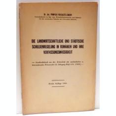 DIE LANDWIRTSCHAFTLICHE UND STADTISCHE SCHULDENREGELUNG IN RUMANIEN UND IHRE VERFASSUNGFMASSIGKEIT de POMPILIU VOICULETZ LEMENY , 1942