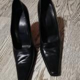 Pantofi de dama,  stil office, 38, Negru, Cu toc