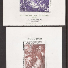 RWANDA 1972,1973 PICTURA CRACIUN ( 2 colite dantelate) MNH, Nestampilat