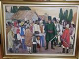 """Pictură în ulei pe placaj, Constantin Mitroescu 1981. """"DOMNUL TUDOR ȘI POPORUL"""""""