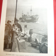 Fotografie ww2 tiparita -Convoi German escortat ,dim18x24cm-Propaganda Germana