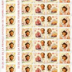 2006 , ROMANIA , COLI: 50 ANI PRIMA EM. DE TIMBRE EUROPA , DANT.+ NEDANT.- MNH